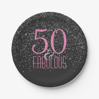 50 & Fabulous Silver Confetti | Pink 50th Birthday Paper Plate