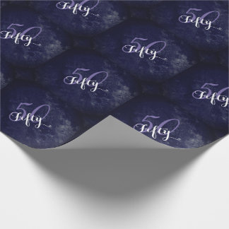 50 & Fabulous! Simple Fancy Purple White Birthday Wrapping Paper