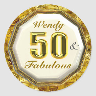 50 & Fabulous Sparkling Gold Birthday Stickers