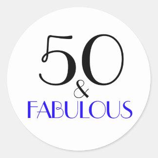 50 & Fabulous | Typography 50th Birthday Classic Round Sticker