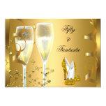 50 & Fantastic Elegant Champagne Heels Gold 13 Cm X 18 Cm Invitation Card