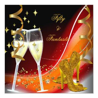 "50 & Fantastic Fabulous Gold Red Orange 5.25"" Square Invitation Card"