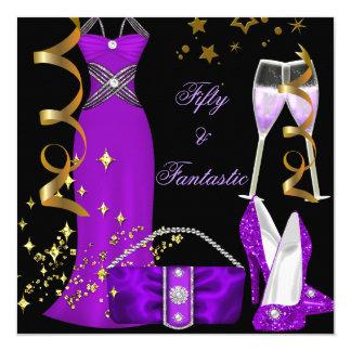 50 & Fantastic Purple Dress Black Gold Birthday 13 Cm X 13 Cm Square Invitation Card