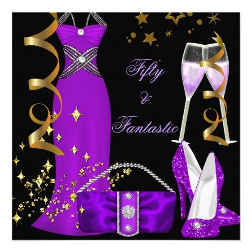 50 & Fantastic Purple Dress Black Gold Birthday Custom Announcements