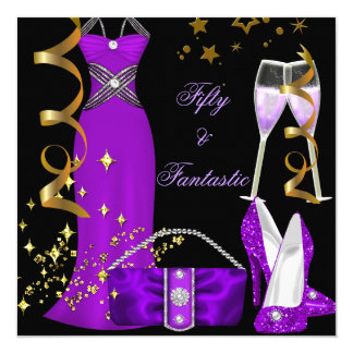 50 & Fantastic Purple Dress Black Gold Birthday 13 Cm X 13 Cm Square Invitation Card