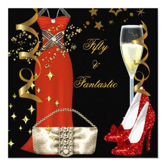 50 Fantastic Red Dress Black Gold Birthday Party 13 Cm X 13 Cm Square Invitation Card