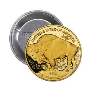 $50 Gold Coin American Buffalo 6 Cm Round Badge