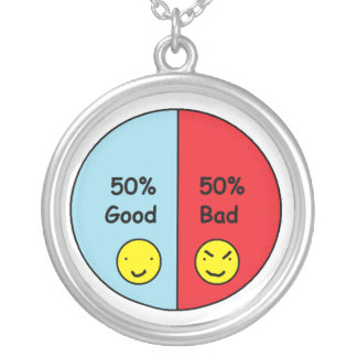 50% Good and 50% Bad Pie Chart Round Pendant Necklace