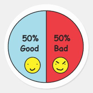 50% Good and 50% Bad Pie Chart Classic Round Sticker