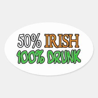 50% Irish, 100% Drunk Oval Sticker
