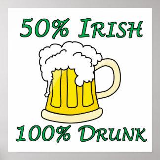 50 Irish 100 Drunk Poster