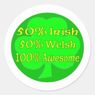 50% Irish 50% Welsh 100% Awesome Round Sticker