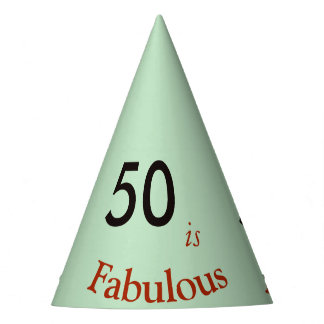 50 is Fabulous paper party hat pastel gray-green