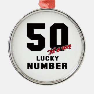 50 It's my lucky number Silver-Colored Round Decoration