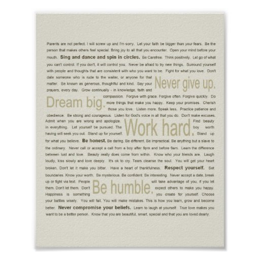 50 Life Lessons for My Daughter Poster