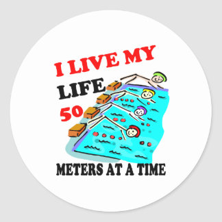 50 meters at a time classic round sticker
