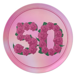 50 number birthday anniversary 50th floral plate