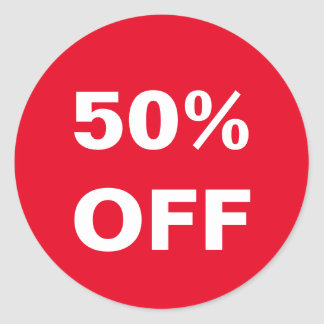 50 Percent Off price Retail store sales stickers