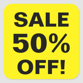 50 Percent Off sale price stickers for retail shop
