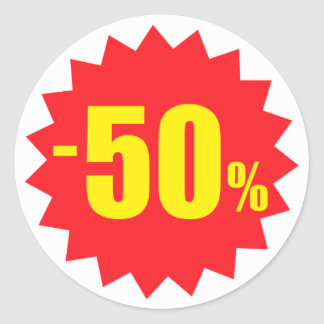 50 percent sale discount stickers, white and red classic round sticker