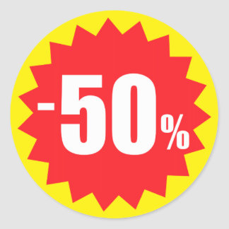50 percent sale discount stickers, yellow and red round sticker
