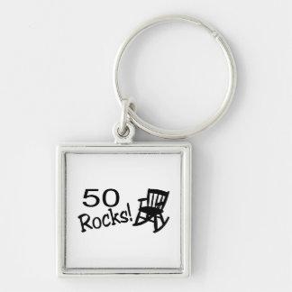 50 Rocks (Rocker) Silver-Colored Square Key Ring