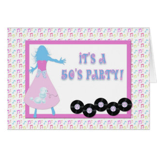 50 s Themed Party Invitation Greeting Cards