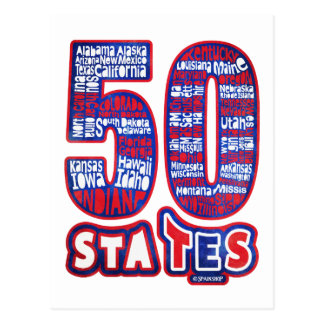 50 STATES THE USA POSTCARD