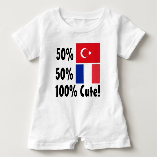 50% Turkish 50% French 100% Cute Baby Bodysuit