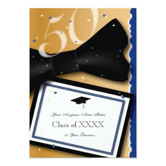 50 Year Class Reunion Royal Blue Accent Color Card