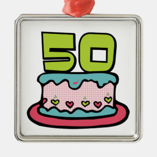 50 Year Old Birthday Cake Christmas Ornament