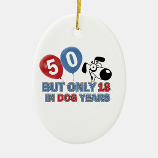 50 year old birthday design ceramic oval decoration