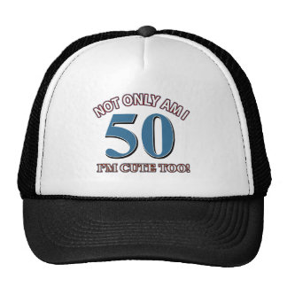 50 year old birthday design mesh hats