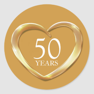 50 years golden anniversary heart sticker