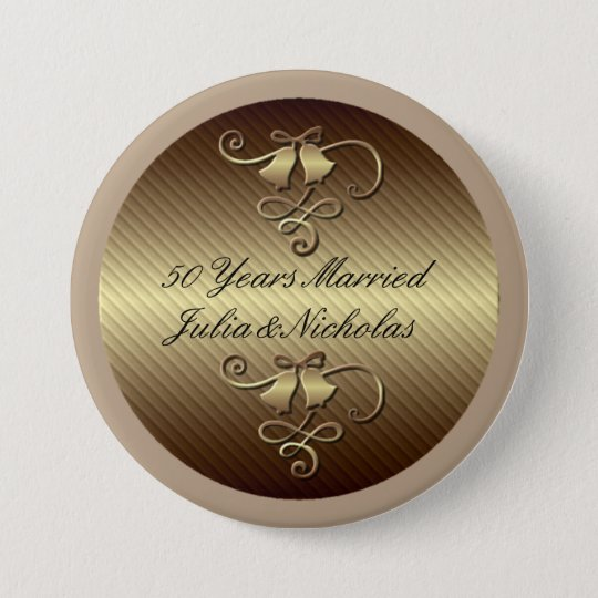 50 Years Married Gold Personalised Button