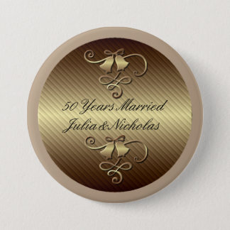 50 Years Married Gold Personalized Button