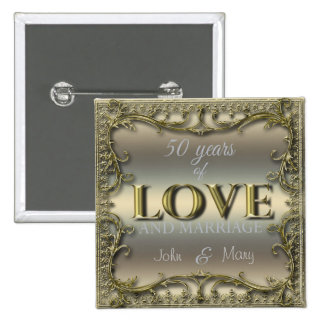 50 Years of Love 15 Cm Square Badge