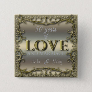 50 Years of Love ID196 15 Cm Square Badge