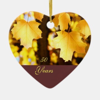 50 Years ornaments Happy Birthday Golden Leaves