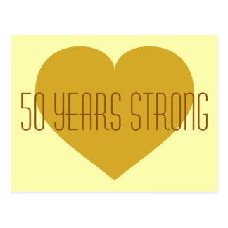 50 Years Strong solid gold heart Postcard