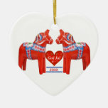 50 Years Together Dated Swedish Dala Horse Heart Ceramic Heart Decoration