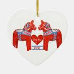 50 Years Together Dated Swedish Dala Horse Heart Ceramic Heart Decoration