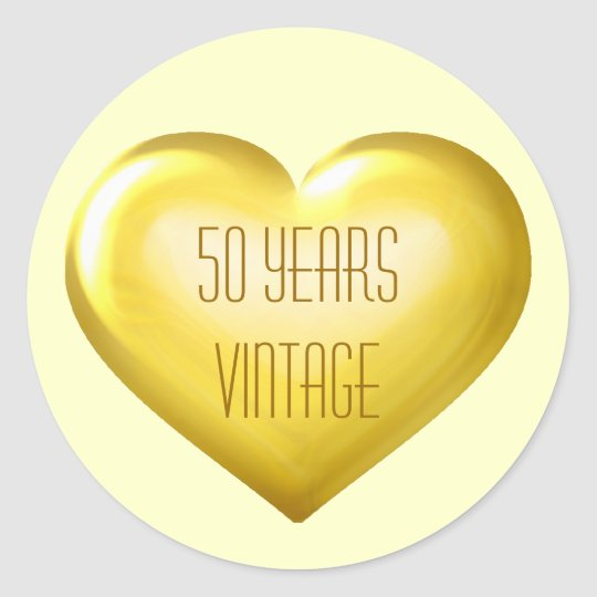 50 Years Vintage gold heart golden anniversary Classic