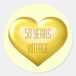 50 Years Vintage gold heart golden anniversary Round Sticker