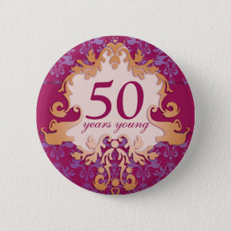 """50 years young"" age damask elephant button/badge 6 cm round badge"