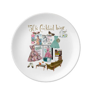 '50s Cocktail Hour Porcelain Plate