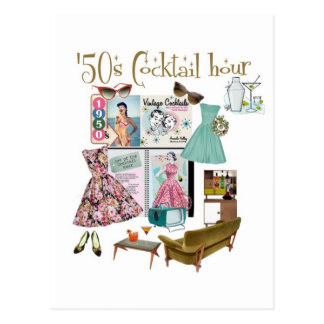 50s Cocktail hour Post Card