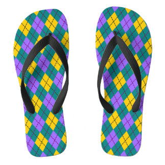 50's Emerald and Lemon Yellow Argyle Flip Flops