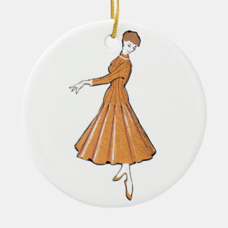 50's fashion sketch christmas ornament