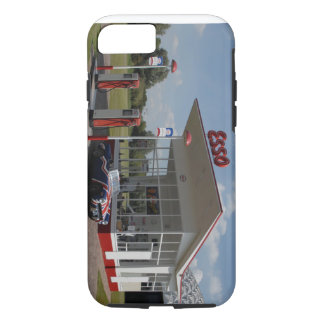 50s gas station with union jack car iPhone 8/7 case